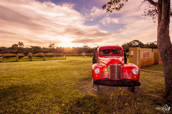 Red Truck at dusk