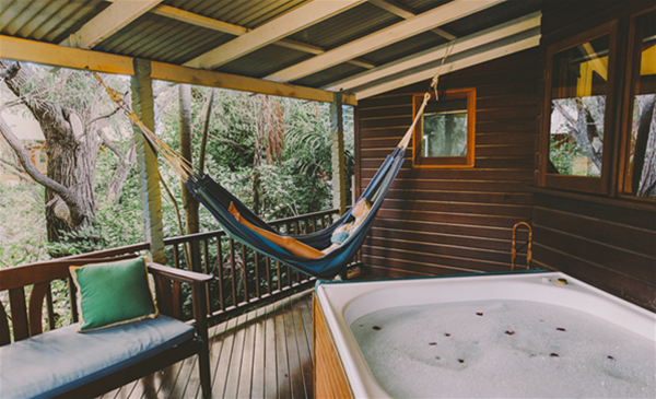 Our King Tree top suites with Hot rainwater spas.