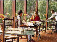 Enjoy a meal in the sunroom