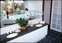 Bathroom area finished in granite