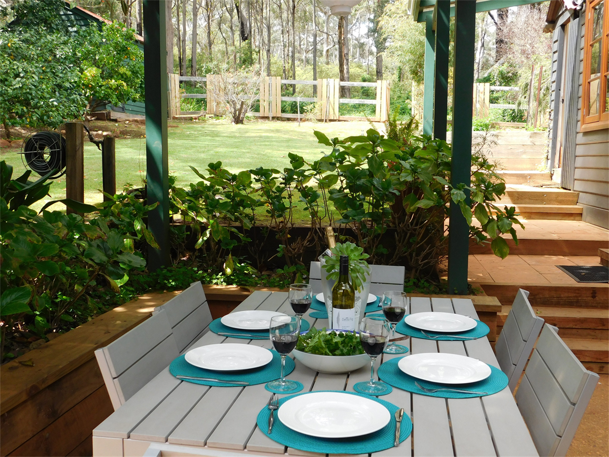Cottage Outdoor Dining with Forest Views