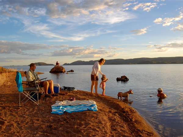 Family day out on Lake Argyle
