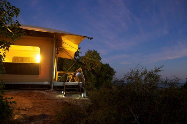 Exterior view of a Bayview Safari Tent  at night