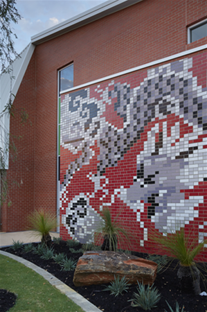 Entry forecourt with feature Aboriginal brick artwork