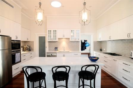 Hamptons inspired kitchen in this Inglewood Home Extension