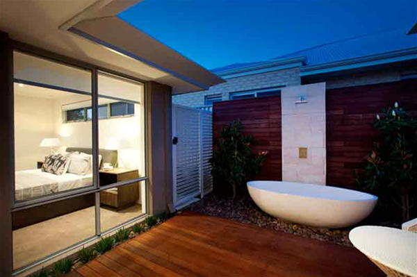 Amazing adults retreat including an outdoor bath. Designed and built by Living Environs.