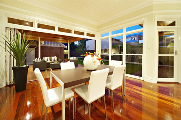 Home extension with open plan living and gleaming jarrah floorboards