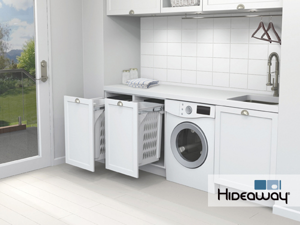 Place 2 x 60lt Laundry Hampers side by side to sort your whites from your colours.