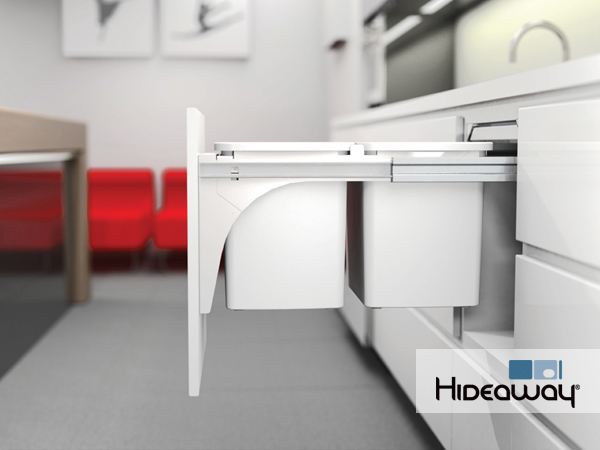 A Hideaway Bin is a practical solution that slides away under the bench and is completely hidden from sight until needed.