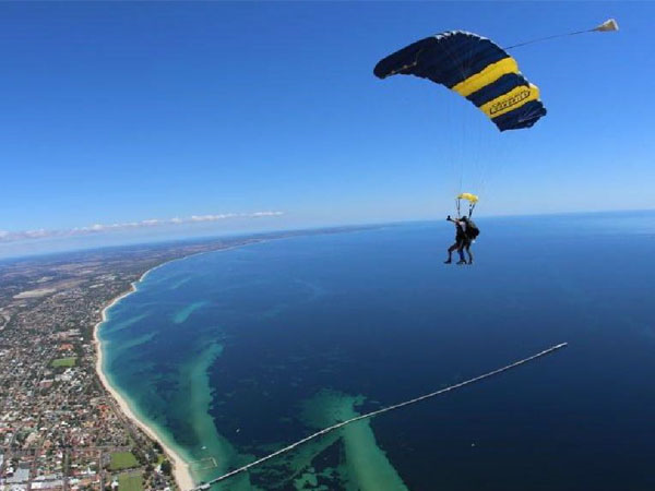 Skydiving over the Busselton Jetty