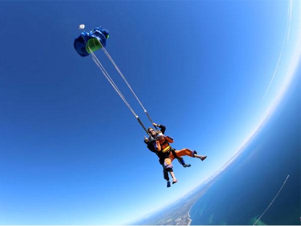 Parachuting opening!