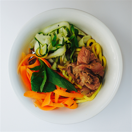 Major & Morsel Food Co Asian-inspired beef & vegetable noodle soup
