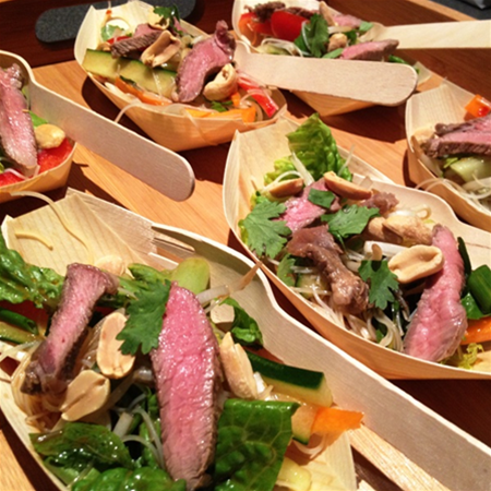 Thai Beef Salad served in Bamboo Boat Walk & Fork Selection