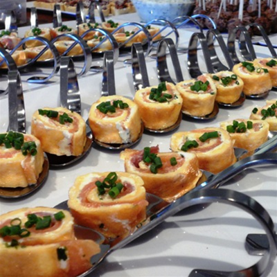 Salmon & Cream Cheese served on Bent Spoons Canape Selection
