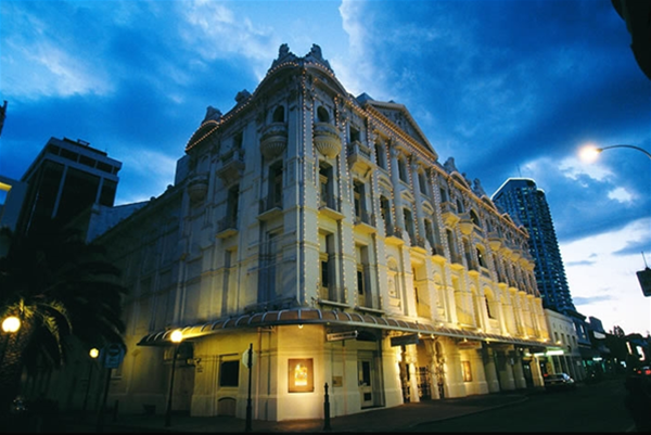 His Majesty`s Theatre at dusk