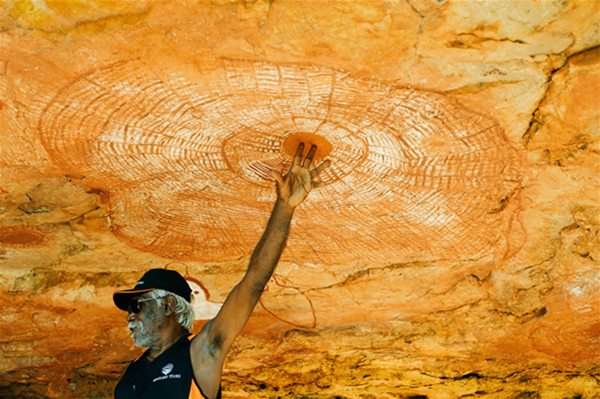 The eye of the sky. Kimberley Elder Donny reaches for a cyclone.