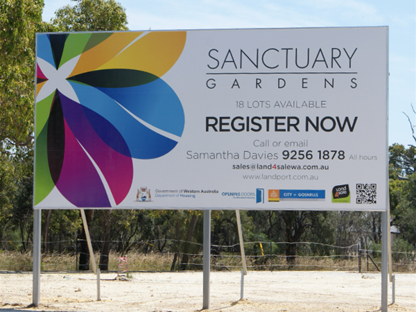 Sanctuary Gardens Estate sign - Sold by Land4Sale