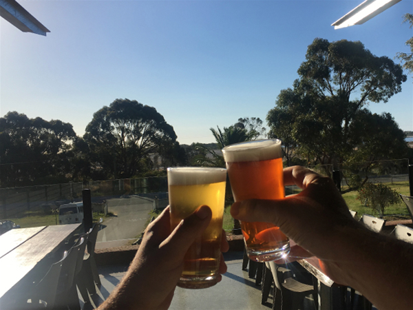 Toasting the horizon with WLB looking out over the West Garden