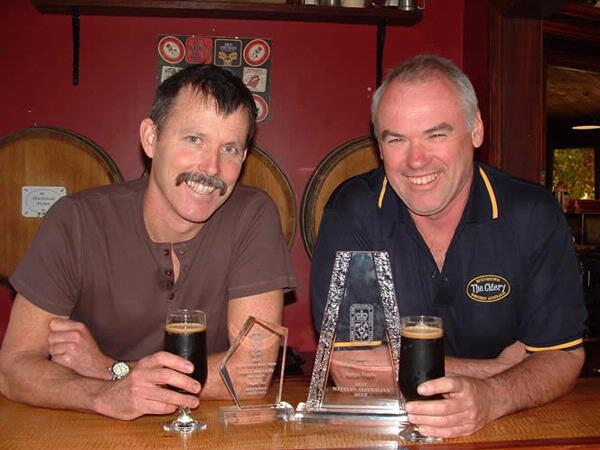 Head Brewer Mark Hollet and Director Pat Corrigan, celebrating award winning Stout Porter.