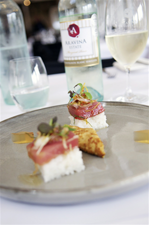 Tuna sashimi on beds of rice, with ginger jelly, Asian omelette and Aravina Sauvignon Blanc Semillon