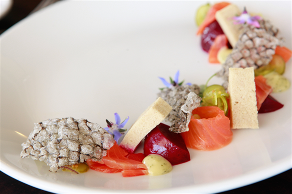 Cured trout, beetroot, buckwheat, dill