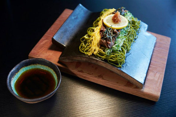 Kawara Soba: Green tea buckwheat noodle served on a hot plate.