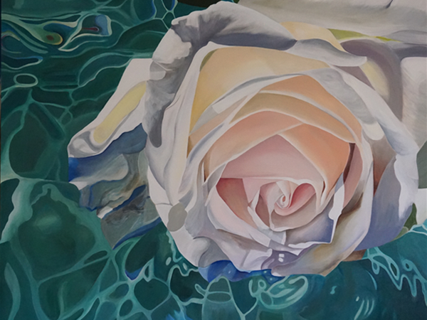 Divinely inspired, peaceful and perfect. I paint flowers for their beauty but they also symbolise many key events in our lives. I was drawn to this image as I am intrigued trying to capture the gentle ebb of the water on the flower.