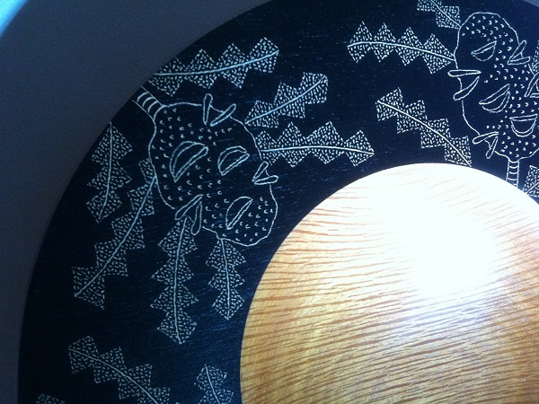 Detail of embellishment on Wooden Bowl by Clive and Jenny Kendrick