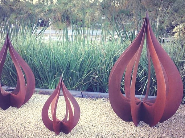 Raindrop sculptures created at Designer Dirt
