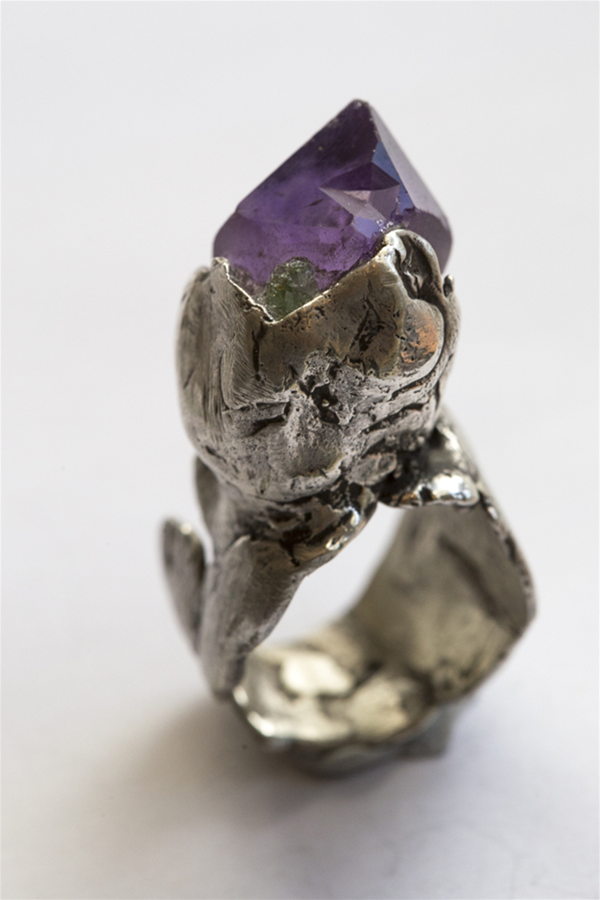 Amethyst and Tsaverite sterling silver ring