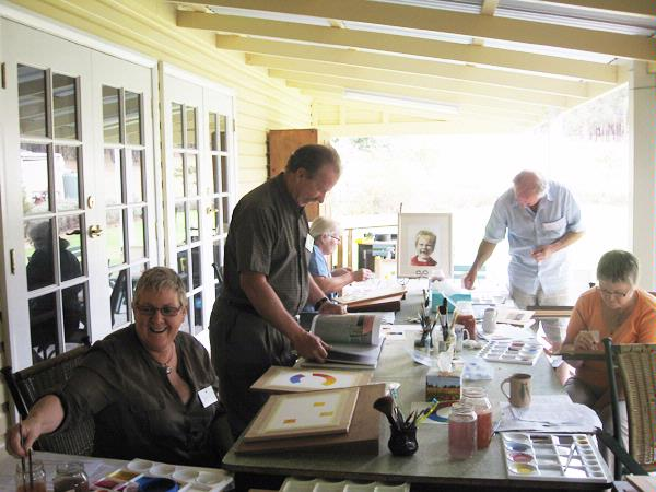 Several types of workshops are conducted at Lyndendale including watercolour, hand-crafted books, printmaking, encaustic, writing and feltmaking.