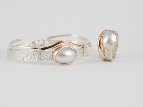Sterling silver bracelet and ring with 9ct rose gold and Broome mabe pearls