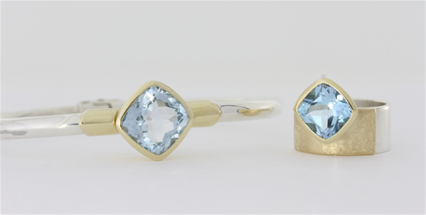 blue topaz set in sterling silver and 9ct yellow gold
