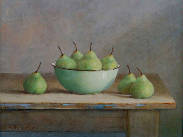 Pears in Bowl by Nellie Crawford (Oil on Canvas)