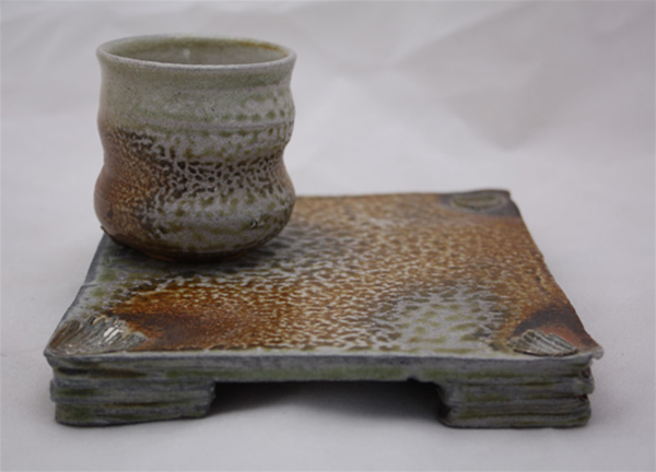 Wood and Soda fired cup and plate