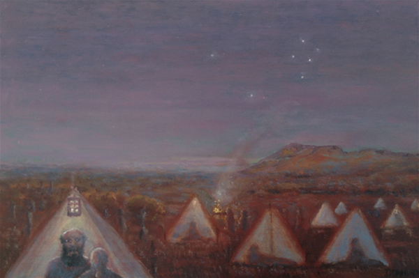 Moondyne and Louisa - Southern Cross Mining Camp, Michael Doherty, Oil on board, 20 x 30cm, 2012