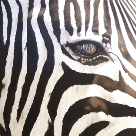 Black and White Zebra Painting - Acrylic on canvas
