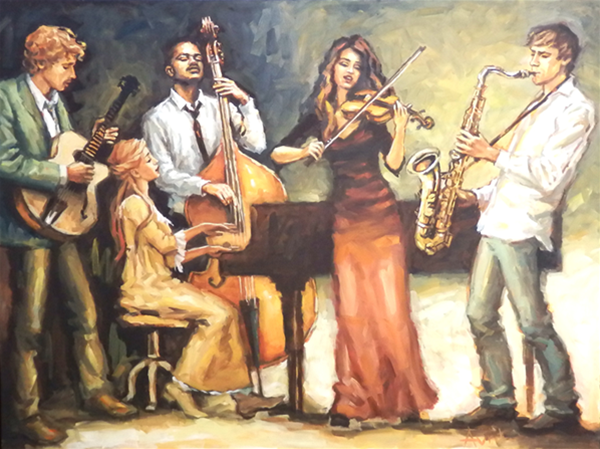Jazz Band Painting - Oil on Canvas