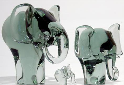 Mouthblown Recycled Glass Elephants