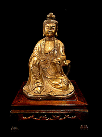 "Rare gilt bronze figure of "" Guanyin"" The deity of compassion 18th century."