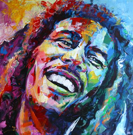 "Bob Marley, Acrylic on Canvas, 40""x40"" (1mx1m)"