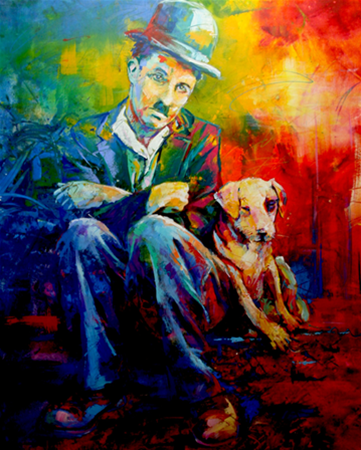 "Charlie Chaplin, Acrylic on Canvas, 48""x60"" (1.2mx1.5m)"