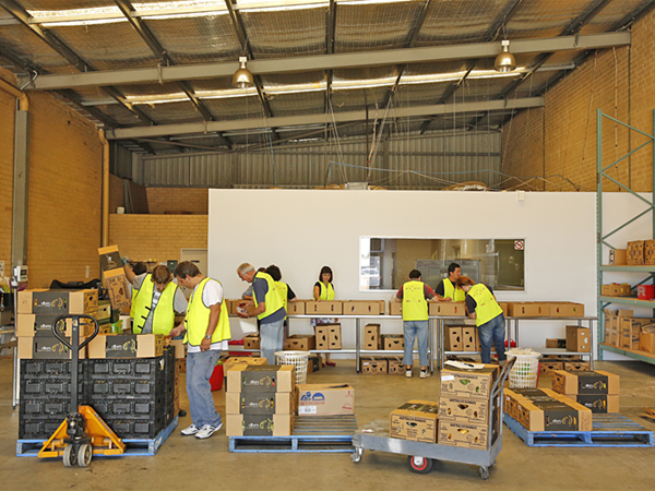 Volunteers Sorting Produce