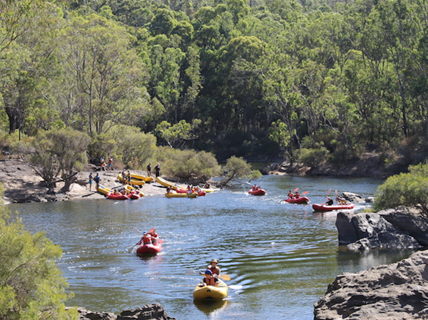 Kayaking on the Murray River at Lane Poole Reserve in Dwellingup
