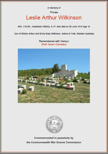 Commonwealth War Graves Commission for Leslie Wilkinson