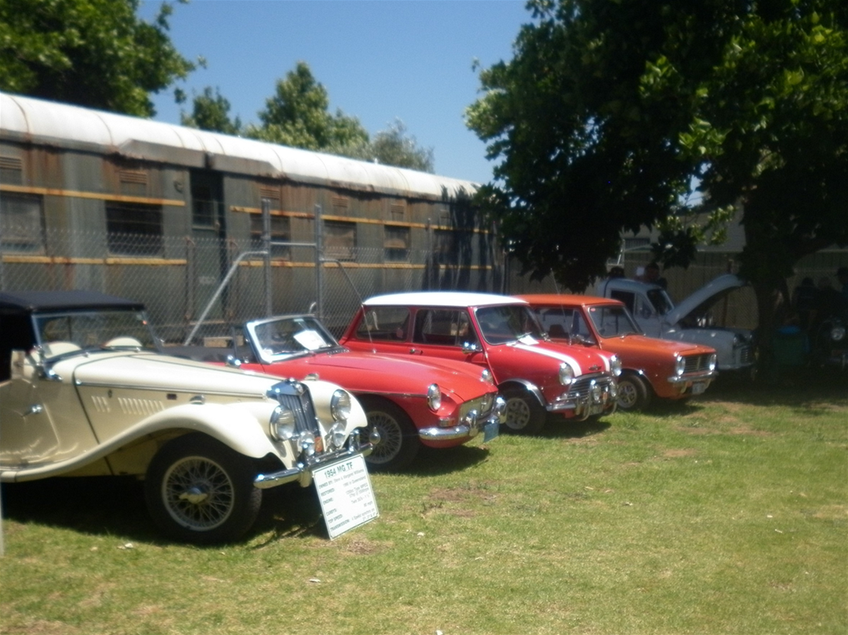Display of vintage cars at the South West Rail and Heritage Centre