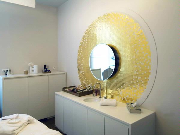 Vanity top in Spa area featuring Staron® Bright White