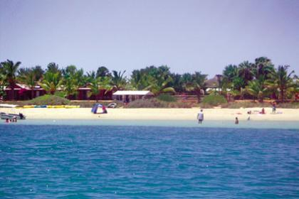 Monkey Mia Resort as seen from the Blue Lagoon Ferry
