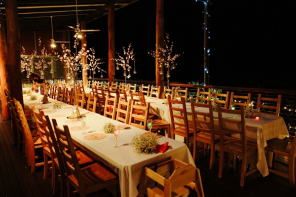 Evening wedding on the Cider House deck