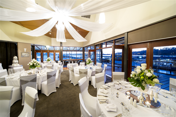 Round Tables Setup with River Views
